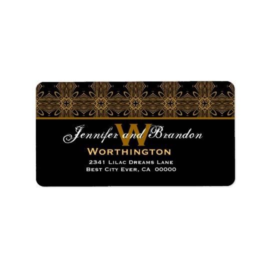 Black and Gold Ornate Vintage Art Nouveau Feeling Label
