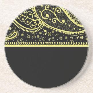Black and Gold Paisley Beverage Coaster
