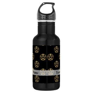 Black and gold pentagram 532 ml water bottle