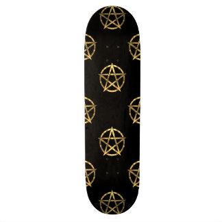 Black and gold pentagram skate boards