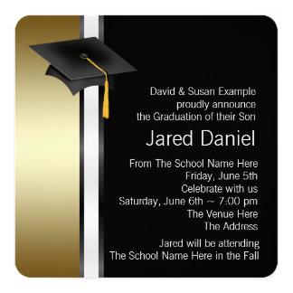 Black and Gold Photo Graduation Announcements