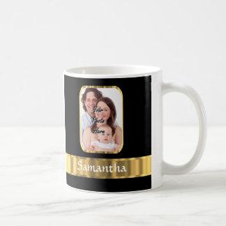 Black and gold photo template basic white mug