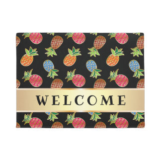 Black And Gold Pineapple Welcome Doormat