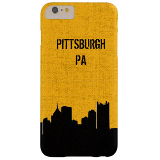 Black and Gold Pittsburgh City Skyline Barely There iPhone 6 Plus Case