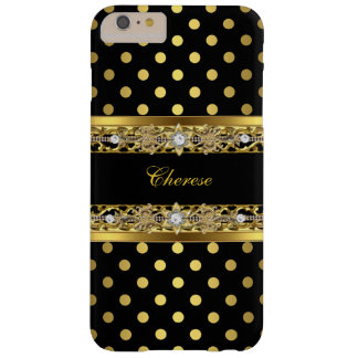 Black and Gold Polka Dots Floral Gold Diamond iPhone 6 Plus Case