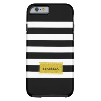 Black and Gold Preppy Stripes Monogram Tough iPhone 6 Case