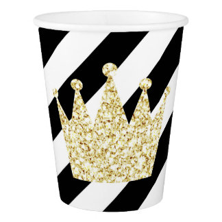 Black and Gold Prince Crown Party Cups
