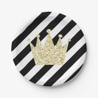 Black and Gold Prince Crown Party Plates