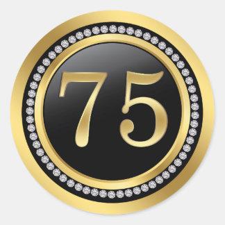 Black and gold, printed diamonds 75th Birthday Classic Round Sticker