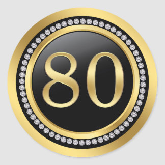 Black and gold, printed diamonds 80th Birthday Classic Round Sticker