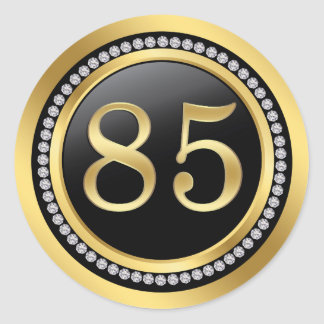 Black and gold, printed diamonds 85th Birthday Round Sticker