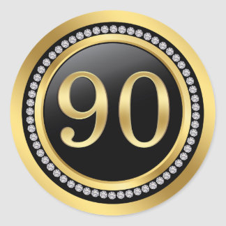 Black and gold, printed diamonds 90th Birthday Round Sticker