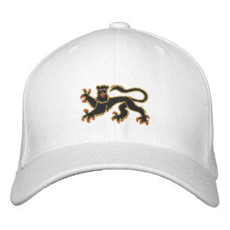 Black and gold rampant lion embroidered cap