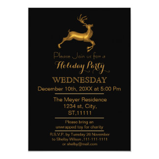 Black and Gold Reindeer holiday party Invitation