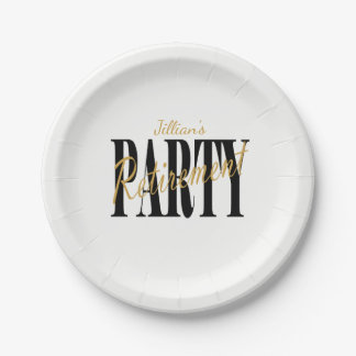 Black and Gold Retirement Party Plates 7 Inch Paper Plate