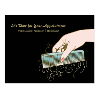 Black and Gold Salon Reminder Vintage Comb Curls Postcard