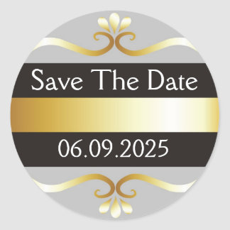 Black And Gold Save The Date Classic Round Sticker