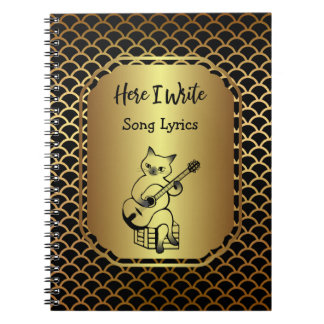 Black and Gold Scallop Song Lyrics Notebook
