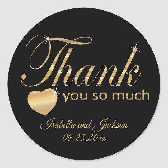 Black and Gold Script Design - Thank You Classic Round Sticker