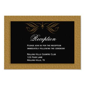 Black and Gold Scroll Accent Weddin Reception Card Custom Invites