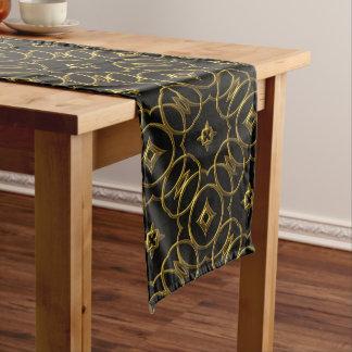 Black and Gold Shiny Geometric Pattern Elegant Long Table Runner