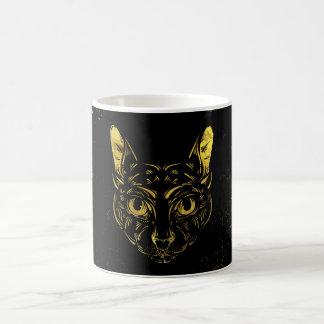 Black and Gold Sphynx Cat on Grunge Egypitan Coffee Mug