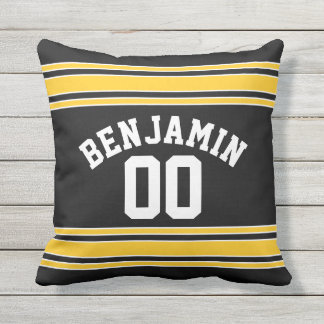 Black and Gold Sports Jersey Custom Name Number Cushion