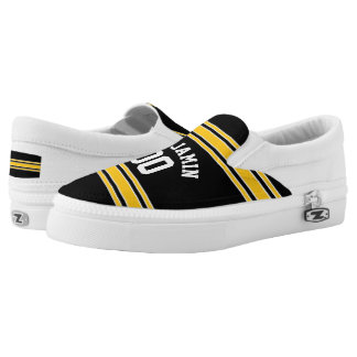 Black and Gold Sports Jersey Custom Name Number Slip On Shoes
