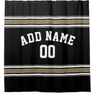 Black and Gold Sports Jersey Name - Can EDIT Color Shower Curtain