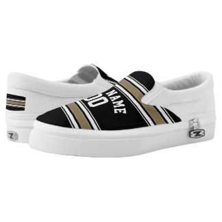 Black and Gold Sports Jersey Name - Can EDIT Color Slip On Shoes