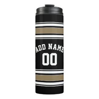 Black and Gold Sports Jersey Name - Can EDIT Color Thermal Tumbler