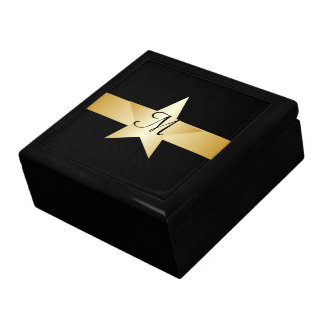 Black And Gold Star Monogrammed Gift Box