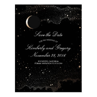 Black and Gold Starry Night Moon Save the Date Postcard