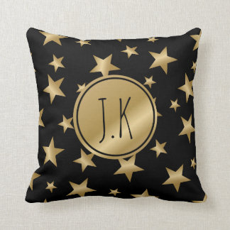 black and gold stars monogrammed cushion pillow