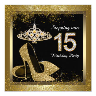 Black and Gold Stepping Into 15 Quinceanera Announcement Cards
