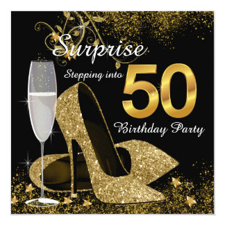 Black and Gold Stepping Into 50 Birthday Party Card