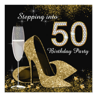 Black and Gold Stepping Into 50 Birthday Party 5.25x5.25 Square Paper Invitation Card