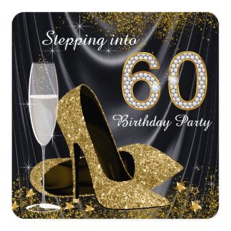 Black and Gold Stepping Into 60 Birthday Party 13 Cm X 13 Cm Square Invitation Card