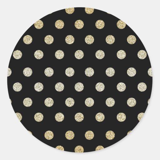 Black and Gold Round Sticker