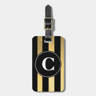 Black and Gold Stripe Initial Luggage Tag