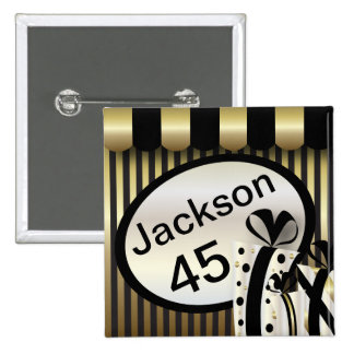 Black and Gold Stripes | DIY Text 15 Cm Square Badge