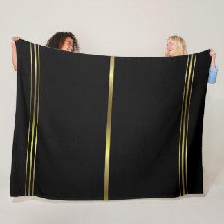 Black and Gold Stripes Elegant Design Trendy Fleece Blanket