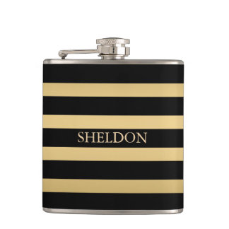 Black And Gold Stripes Hip Flask