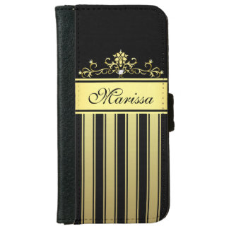 Black and Gold Stripes iPhone 6 Wallet Case