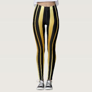 Black and Gold Stripes Leggings