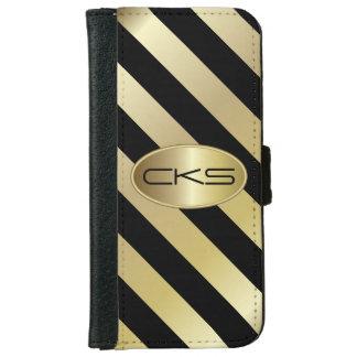 Black and Gold Stripes | Monogram | DIY Color iPhone 6 Wallet Case