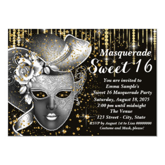 "Black and Gold Sweet Sixteen Masquerade Party 4.5"" X 6.25"" Invitation Card"