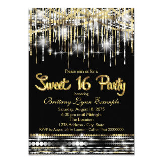Black and Gold Sweet Sixteen Party 11 Cm X 16 Cm Invitation Card