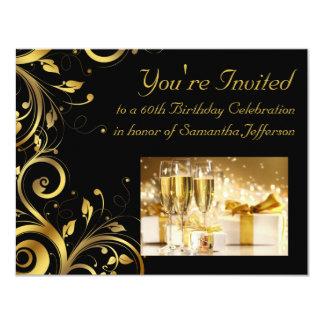 Black and Gold Swirl, Custom 60th Birthday Party Card