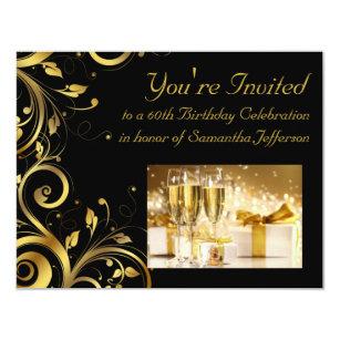Black And Gold 60th Birthday Invitations Zazzle Com Au